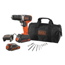 Black and Decker - 18V Schroefboormachine met 2 accus lader en 10 accessoires in een opbergtas - BCD001BA10S