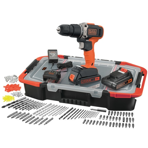 Black and Decker - 18V Accuklopboormachine met 2x 15Ah accus lader en 160 accessoires in ClickConnect box - BCD003BAST