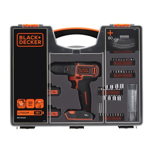 Black and Decker - 18V Schroefboormachine met 2 accus en 80 accessoires in organiser - BDC718AS2O
