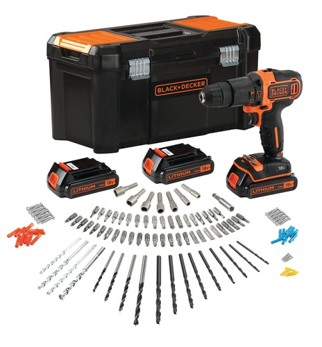 Black and Decker - 18V accuklopboormachine met 3 accus lader en 120 accessoires in opbergkoffer - BDCHD181B3A