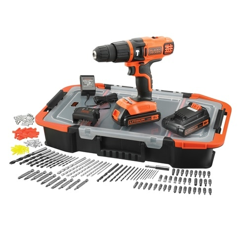 Black and Decker - 18V Lithium Ion accu schroefklopboormachine met 2 accus 160 accessoires in organiser - EGBL188BAST