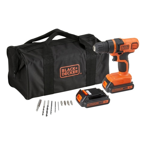 Black and Decker - 18V Lithium Ion accu schroefboormachine met 2 accus 10 accessoires in softbag - EGBL18BA10S