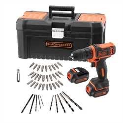 Black and Decker - 108V Accuschroefboormachine met 2de accu lader 40 accessoires in koffer - BDCDD121BKA