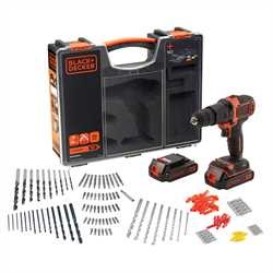 Black and Decker - 18V Accuklopboormachine met 2 accus 160 accessoires in organiser - BDCHD18BOA