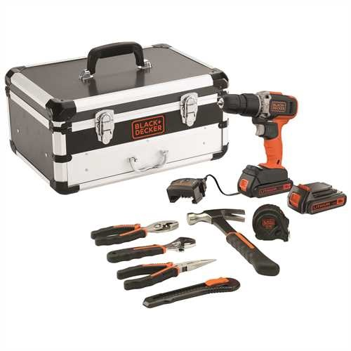 Black and Decker - 18V 2x 15Ah Schroefklopboormachine met lader 6 handgereedschappen en flight case - BCD003BHFC