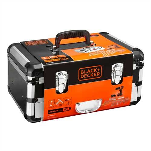 Black and Decker - 18V Lithium Accuklopboormachine met 2 accus 80 accessoires in flight case - BDC718AS2F